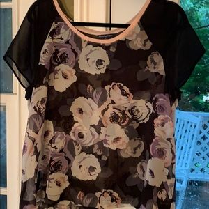 American Eagle sheer floral top size large